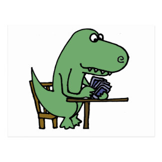 Funny T-Rex Dinosaur Playing Cards Postcard