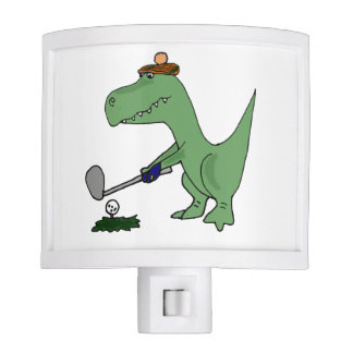 Funny T-Rex Dinosaur Playing Golf Nite Lites