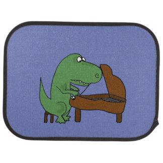 Funny T-Rex Dinosaur Playing Piano Car Mat