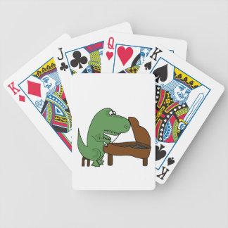 Funny T-Rex Dinosaur Playing Piano Poker Deck