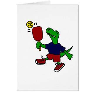 Funny T-Rex Dinosaur Playing Pickleball Card