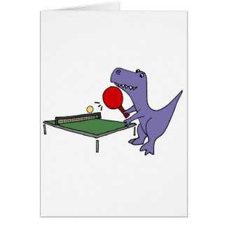Funny T-Rex Dinosaur Playing Ping Pong Card