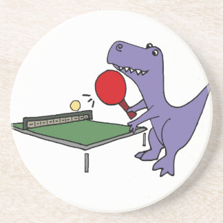 Funny T-Rex Dinosaur Playing Ping Pong Drink Coaster