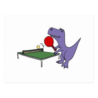 Funny T-Rex Dinosaur Playing Ping Pong Postcard