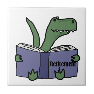 Funny T-rex Dinosaur Reading Retirement Book Tile