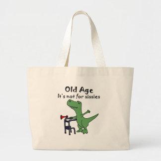 Funny T-rex Dinosaur Using Walker Large Tote Bag