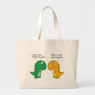 funny-T-Rex-little-arms-cartoon Large Tote Bag