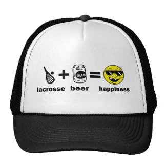 Funny T-Shirt Lacrosse + Beer = Happiness Trucker Hat