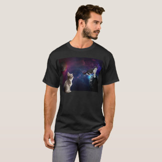 Funny Tabby Kitten Cat in Space Galaxy Shirt