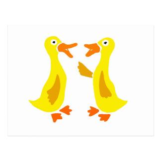 Funny Talking Ducks Art Postcard