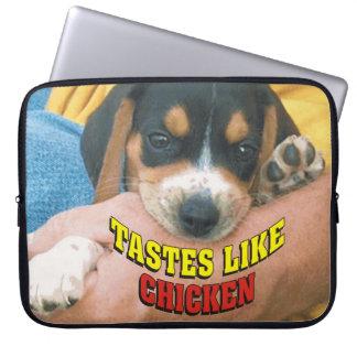 Funny Tastes Like Chicken Beagle Laptop Sleeve