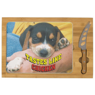 Funny Tastes Like Chicken Beagle Pup Cheese Board Round Cheese Board