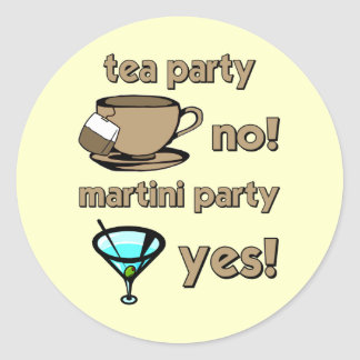 Funny tea party classic round sticker