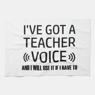 Funny Teacher voice designs Kitchen Towel