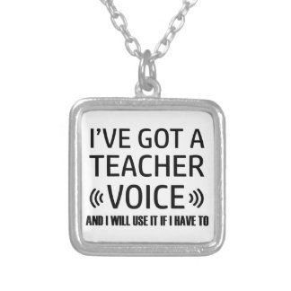 Funny Teacher voice designs Silver Plated Necklace
