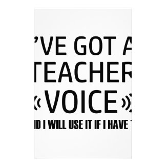 Funny Teacher voice designs Stationery