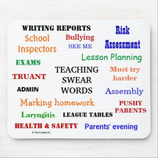 Funny Teaching Swear Words Annoying Teacher Joke Mouse Pad