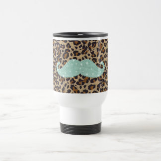 Funny Teal Green Bling Mustache And Animal Print Travel Mug