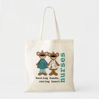 Funny Teddy Bear Nurse design Tote Bags