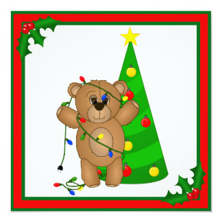 "Funny Teddy Bear Tangled in Christmas Lights 5.25"" Square Invitation Card"