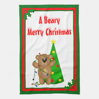 Funny Teddy Bear Tangled in Christmas Lights Kitchen Towel