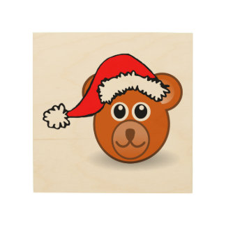 Funny teddy bear with Santa Claus hat Wood Canvas