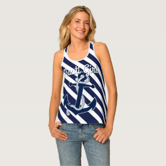 Funny Text Dark Blue White Anchor Stripes pattern Tank Top