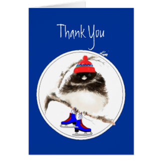Funny, Thank You, Figure Skating  Sport Bird Card