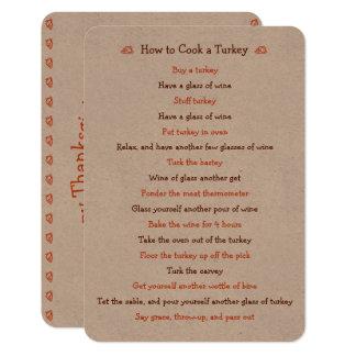 Funny Thanksgiving Card How To Roast Turkey Recipe