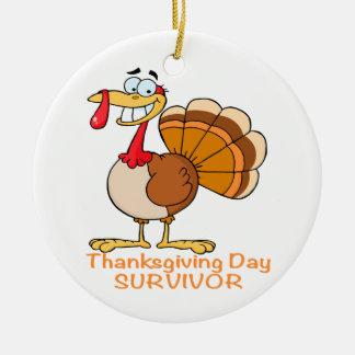 funny thanksgiving day survivor turkey ceramic ornament