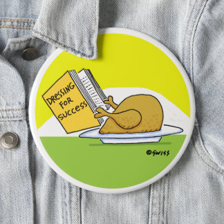 Funny Thanksgiving Roast Turkey Cartoon Button