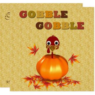 Funny Thanksgiving Turkey in Pumpkin - Invitation