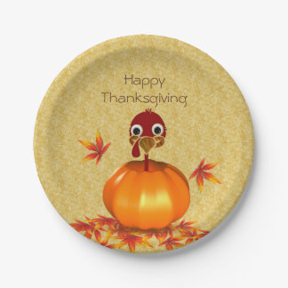 Funny Thanksgiving Turkey in Pumpkin Paper Plate