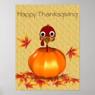 Funny Thanksgiving Turkey in Pumpkin - Poster