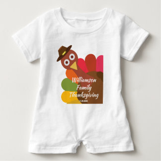 Funny Thanksgiving Turkey Matching Family Custom Baby Romper