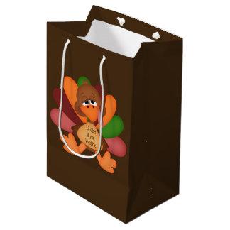 Funny Thanksgiving turkey medium gift bag