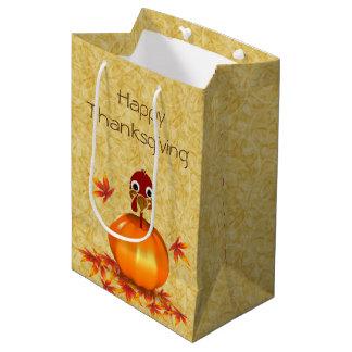 Funny Thanksgiving Turkey Pumpkin Medium Gift Bag