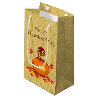Funny Thanksgiving Turkey Pumpkin Small Gift Bag
