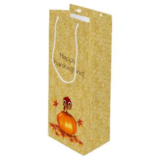 Funny Thanksgiving Turkey Pumpkin - Wine Gift Bag