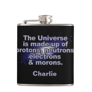 "Funny ""The Universe"" custom name flask"