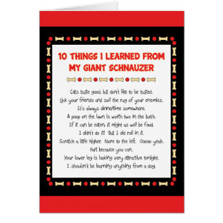 Funny Things I Learned From My Giant Schnauzer Greeting Card