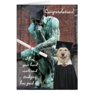 Funny Thinker & Dog Graduation Card
