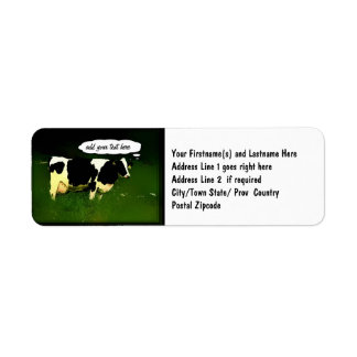 Funny Thinking Cow Return Address Label