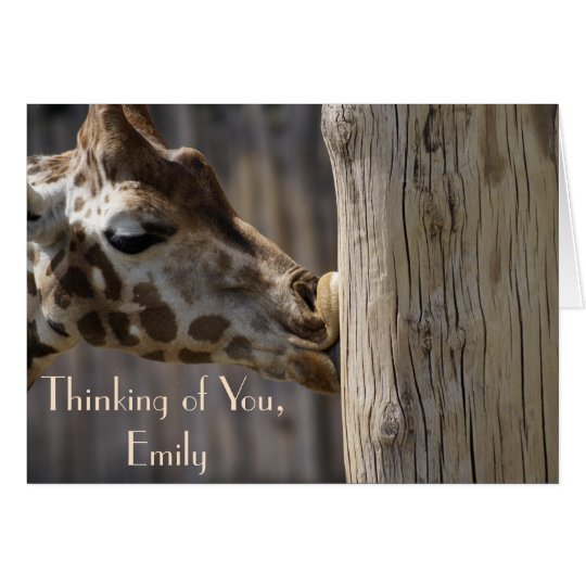 Funny Thinking of You Giraffe Kisses Card