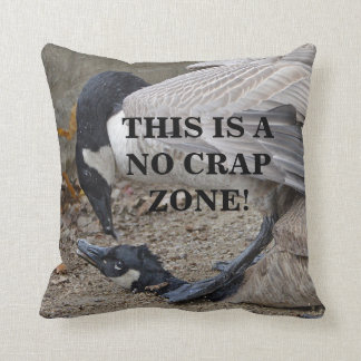 Funny This is a no crap zone! Canada Geese Throw Pillow