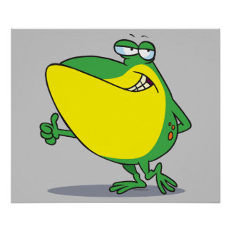 funny thumbs up frog froggy cartoon poster