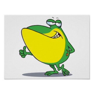 funny thumbs up frog froggy cartoon posters