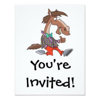 """funny thumbs up nerdy horse cartoon 4.25"""" x 5.5"""" invitation card"""