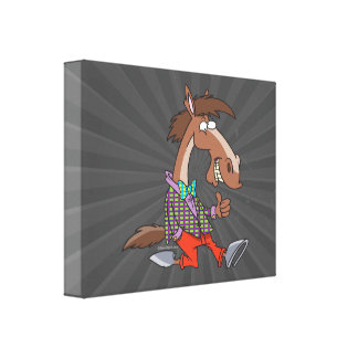 funny thumbs up nerdy horse cartoon gallery wrap canvas