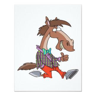 funny thumbs up nerdy horse cartoon invitation